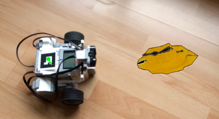 Image showing a screenshot of the Android application: robot with marker and vectors next to a generated object.