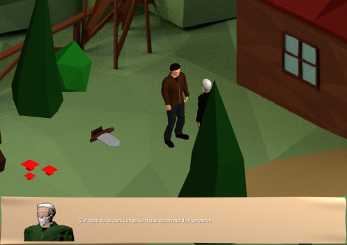 Image showing a dialogue between the main character and uncle Rufus
