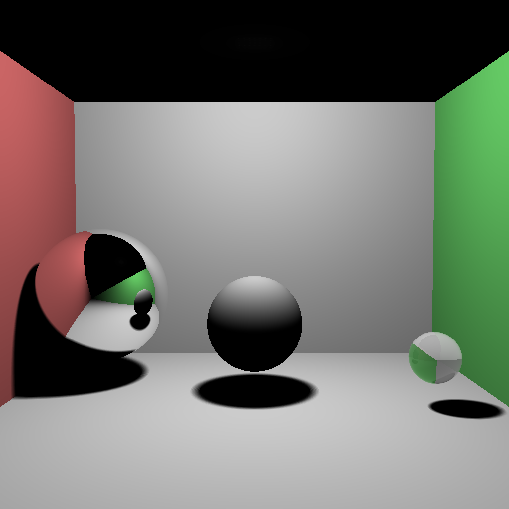 Image showing a raytraced Cornell box containing three spheres with different materials